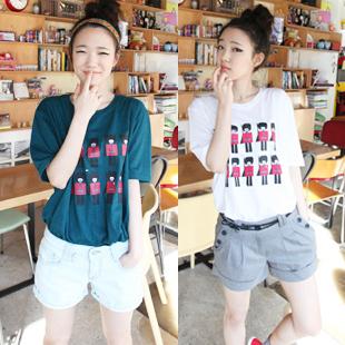 韩国ulzzang夏季新款 韩版可爱卡通小兵宽松全棉学生短袖T恤女装