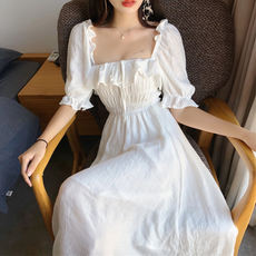 Summer new style gentle retro temperament square neck puff sleeves ruffled dress high waist was thin big swing skirt female tide