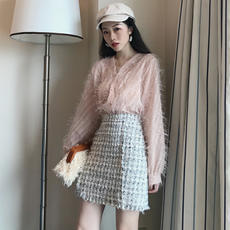 New autumn tweed high waist slim skirt single-breasted V-neck tassel perspective shirt two-piece female
