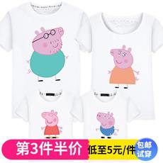 Pig Peggy social family parent-child wear summer dress A family of three-four cotton parent-child T-shirt summer short-sleeved class service
