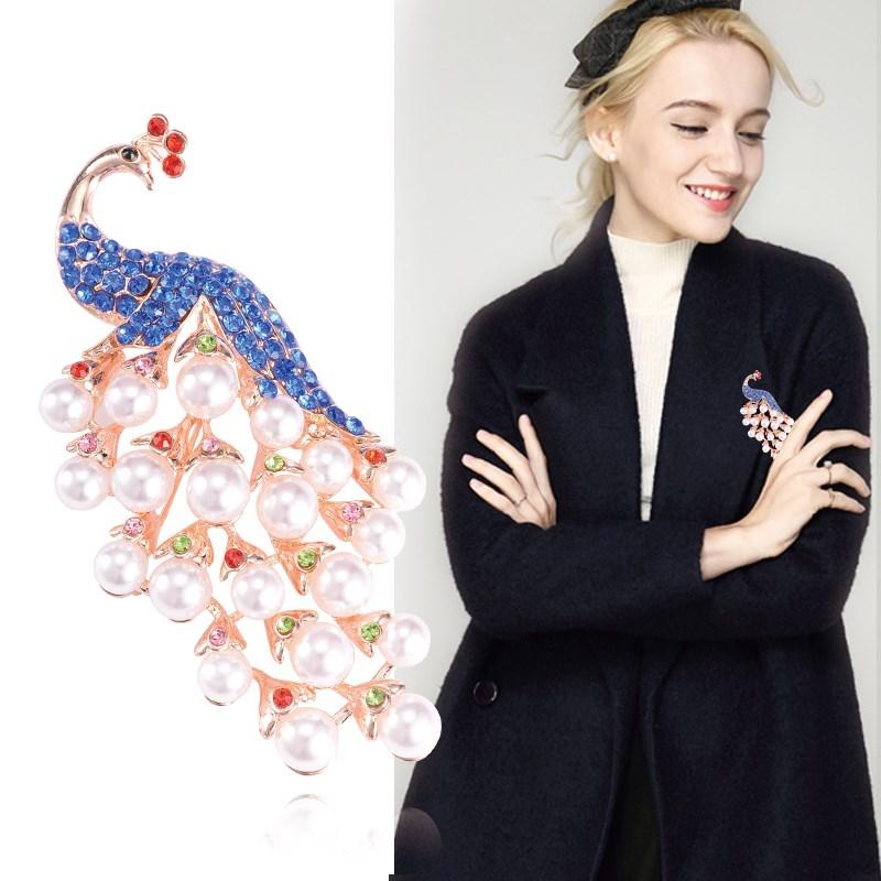 2017新款韩国胸花女士西服衣服孔雀胸针配饰气质水钻饰品时尚百搭