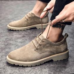秋季休闲皮鞋男英伦磨砂真皮马丁鞋低帮鞋子翻毛伐木鞋反绒皮男鞋