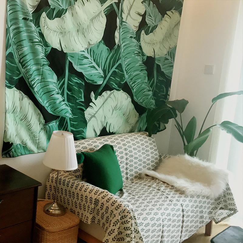 植物北欧ins大绿叶挂布墙壁装饰清洗森林叶子沙滩巾防水野餐布