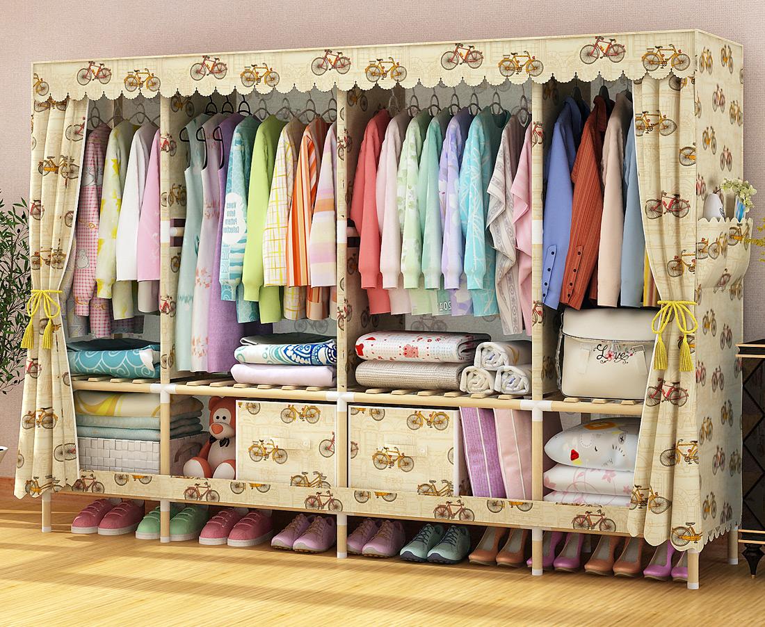 超大衣柜特大号牛津布简易衣柜大容量实木多挂衣柜组装布柜三双人