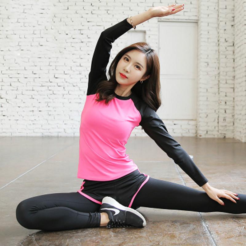 春秋瑜伽服套装女2018新款夏专业晨跑健身房运动锻炼速干跑步衣服