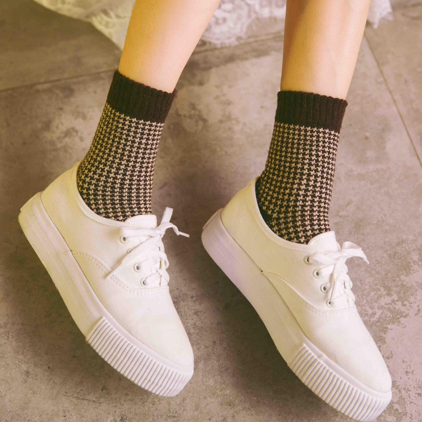 秋冬款女士羊毛袜加厚保暖厚款潮流女式袜子千鸟格中筒袜打底短袜