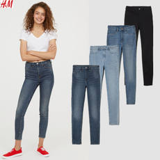HM women's washed super elastic high waist jeans 160CM petite version of slim slimming jeans wild pants tide