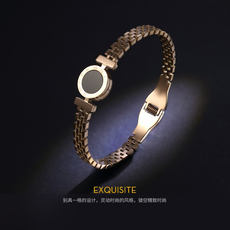 Fading Swan Clover Opening Cuff Titanium Steel Plated 18k Rose Gold Fashion Influx Couple Bracelet