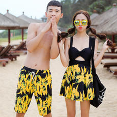 Beach Couple Set Swimsuit Female Conservancy Siamese Skirt Thin Covered Seaside Vacation Couple Spa Swimsuit