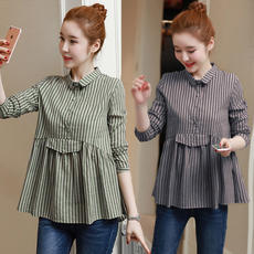 Pregnant women spring jacket short section 2018 new Korean long-sleeved shirt pregnant doll shirt spring pregnant women shirt