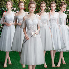 Gray bridesmaid dress temperament 2019 new spring bridesmaid dress female middle long sisters skirt was thin bridesmaid dress