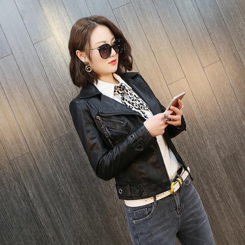 皮衣外套女2019春季新款女装韩版修身显瘦多拉链翻领PU皮短外套潮
