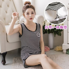 Cotton pajamas women summer wear chest pad can wear vest sleeveless sports suit running yoga with bra home service