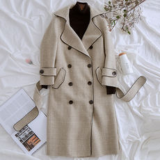 [Shopping mall with the same paragraph] 2018 new anti-season stripe double-sided nylon coat female long temperament lapel jacket