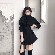 Korean version of the loose long woolen coat female autumn 2018 new student stand collar waist black woolen coat