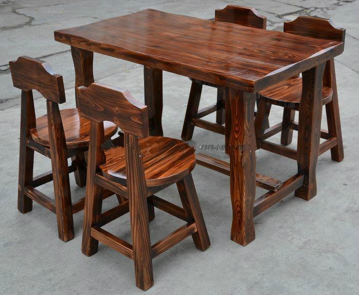 碳化防腐桌椅户外公园酒吧饭店面馆咖啡快餐店实木餐桌椅组合
