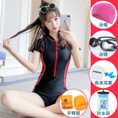 Swimsuit female conservative Siamese slimming belly 2019 new explosion models ins wind sports professional swimwear swimwear