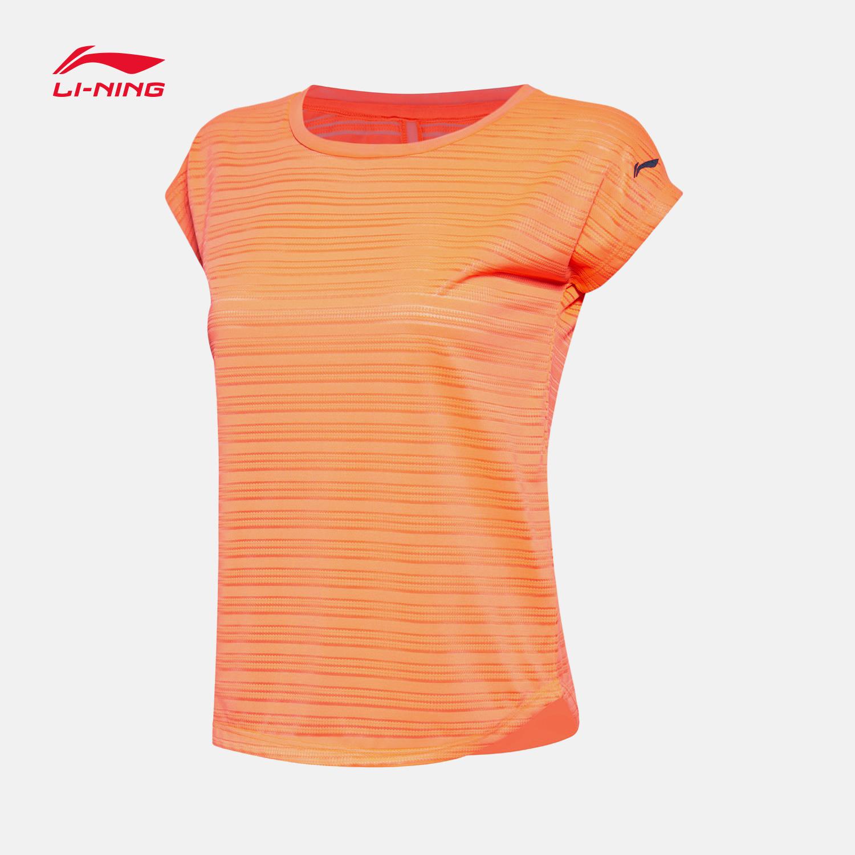 李宁t恤女速干短袖2019夏季新款女装跑步系列上衣条纹短袖运动T恤