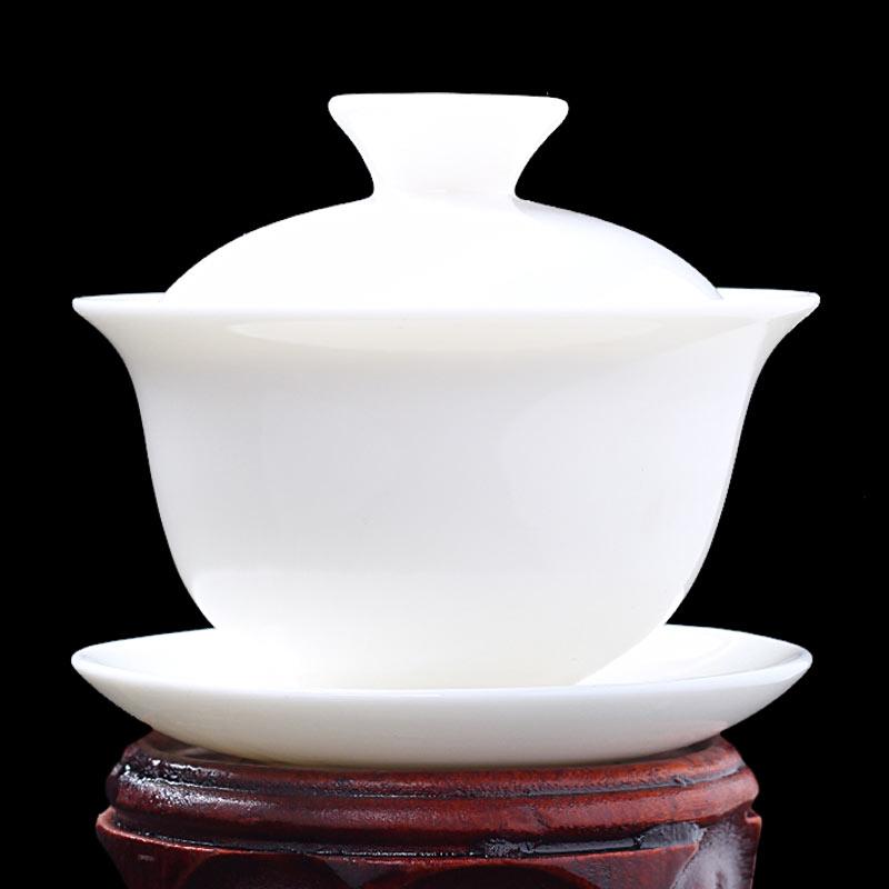 豹霖羊脂玉纯手工三才盖碗茶杯泡茶碗茶具单个大号景德镇家用日式
