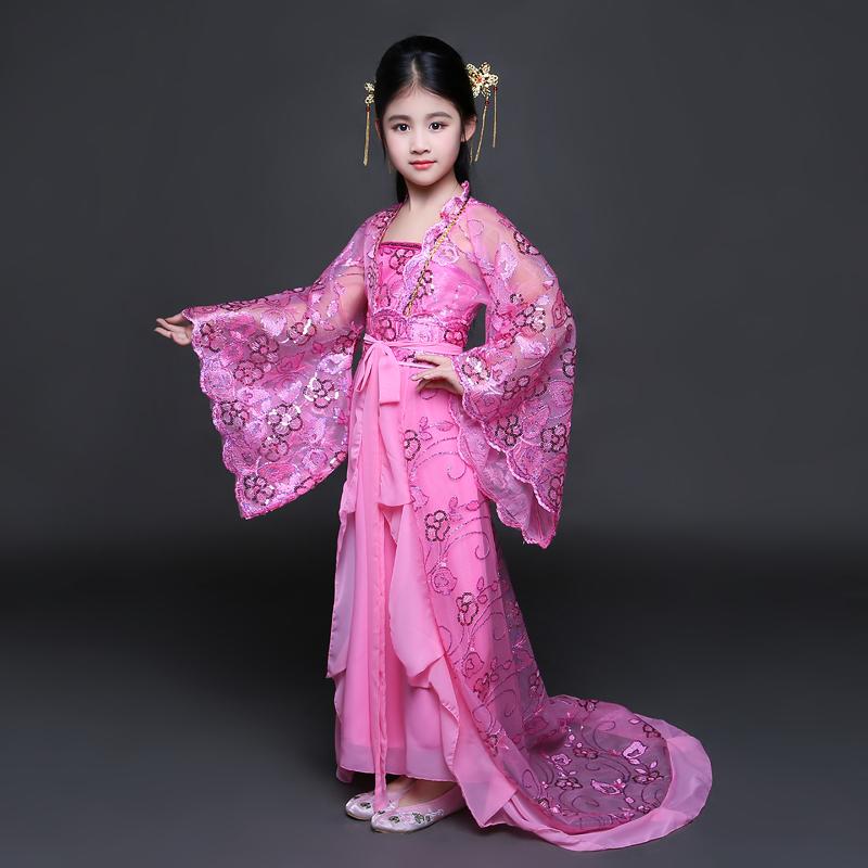 儿童贵妃拖尾古装女童唐装公主仙女cos舞台走秀演出服装写真汉服