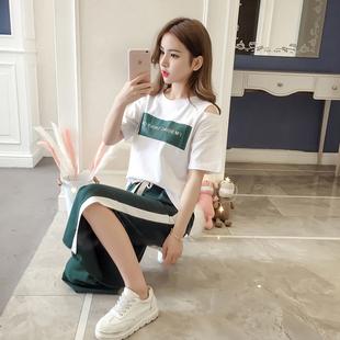 夏季韩版时尚潮流休闲运动两件套女装夏天学生宽松显瘦阔腿裤套装