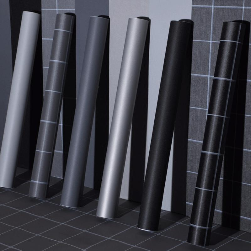 自粘墙纸防水纯色翻新贴纸卧室客厅寝室店铺装饰壁纸灰色素色