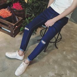 2018男士牛仔裤修身青年显瘦九分裤27码26夏季小码学生牛仔小脚裤
