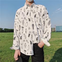 夏季港风韩版潮流宽松长袖情侣衬衫男士寸衫薄款透气衬衣学生外套