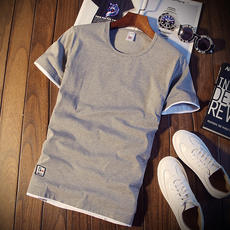Summer men's short-sleeved T-shirt round neck solid color t-shirt bottoming shirt Korean Slim half-sleeved clothes tide men's thin