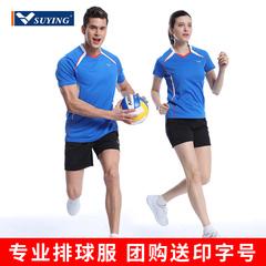 速鹰排球服套装男女款短袖短裤学生宽松透气排汗比赛训练队服定制