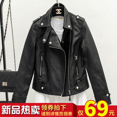 2017 spring and autumn new leather female short paragraph Korean version of the motorcycle pu leather jacket Slim was thin black ladies jacket