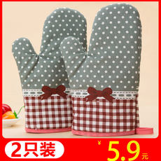 2 thick anti-scalding gloves insulated oven special gloves microwave oven baking high temperature heat-resistant kitchen supplies