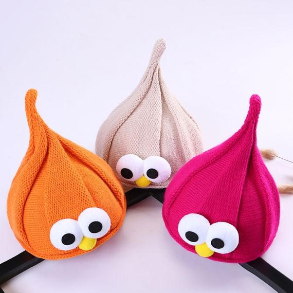Korean version of boys and girls autumn and winter warm knitted baby children pointed hat wizard big eyes cute cute hat