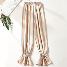 2018 early autumn new fashion slim waist pure color beaded nine pants 1882-15