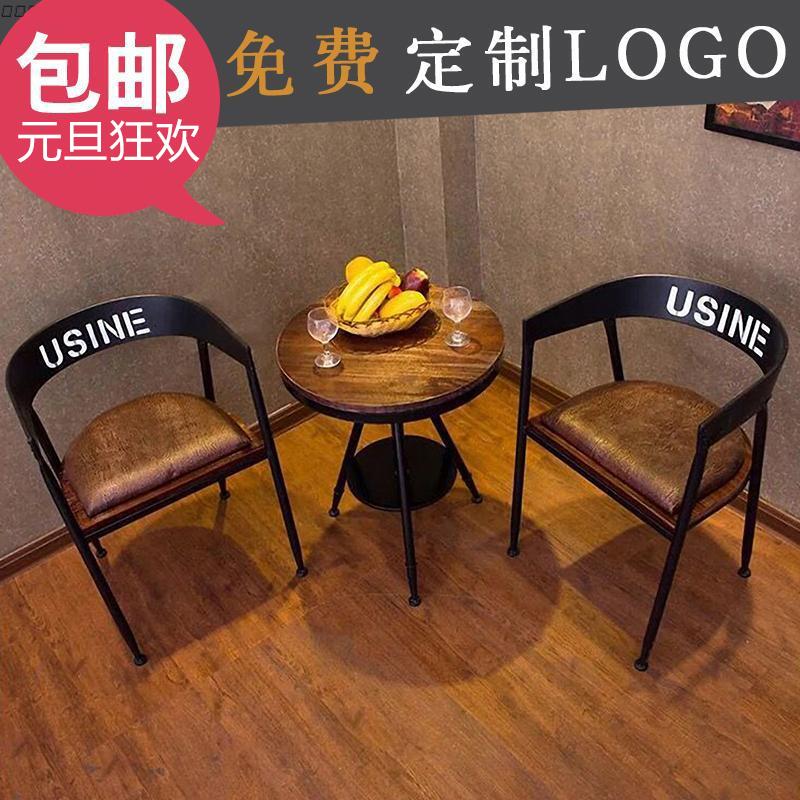 实木铁艺休闲餐桌椅组合酒吧阳台桌椅创意咖啡厅小圆桌三件套装