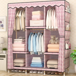 衣柜简易布衣柜布艺组装简约现代经济型实木超钢架牛津布加粗加固