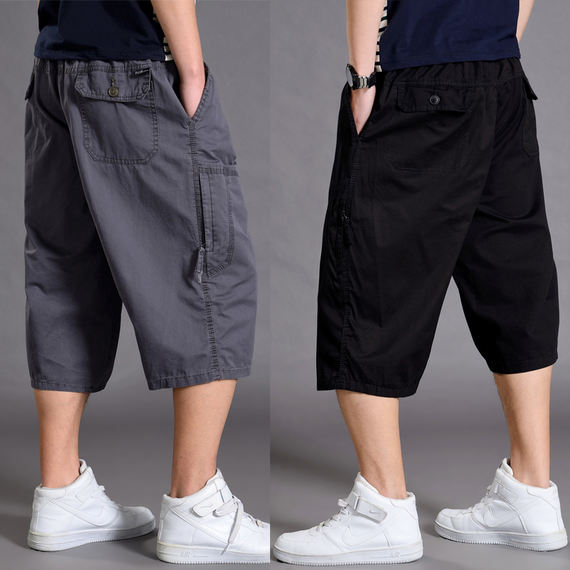 Summer sports cropped trousers men's loose shorts plus fertilizer XL fat casual thin section 7 points tooling pants