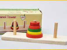 3-5 years old kindergarten mathematics enlightenment teaching aid Hanoi tower wooden intellectual power toy mini 5 layer Hanno Tower