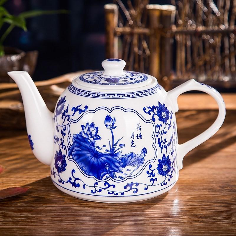 大容量耐热景德镇陶瓷泡茶壶凉水壶 大号高温青花陶瓷大茶壶 茶杯