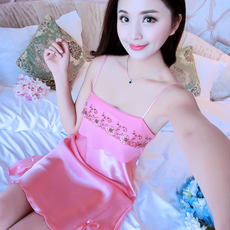 Spring and summer sweet cute thin strap suspenders embroidery sexy sweet nightdress pajamas female silk Korean home service