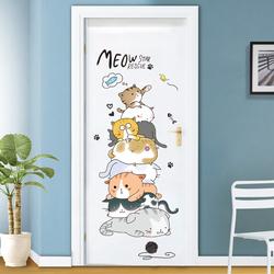 猫咪门贴纸可爱创意温馨墙贴纸贴画卧室宿舍房间装饰墙壁墙纸自粘