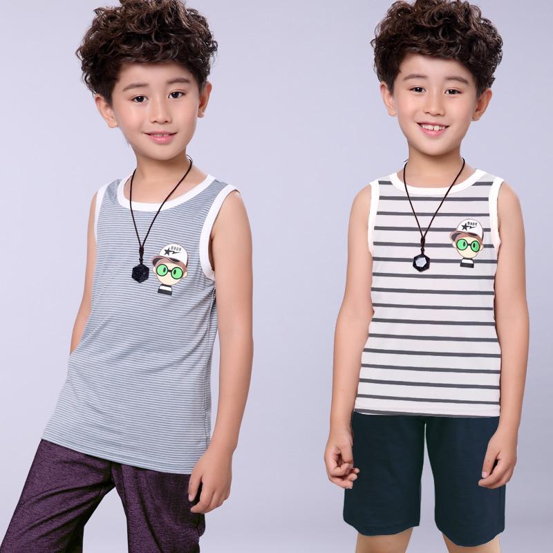 2018夏装新款童装  中大童套装休闲男童条纹背心短裤套装两件套