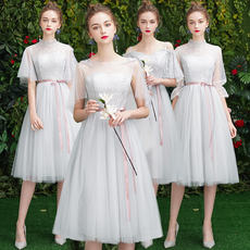 Bridesmaid dress 2019 new spring gray fairy temperament Korean version of the slim sister group dress female girlfriends wedding long section