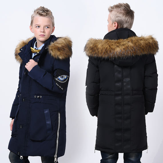 10 fat boy winter clothing plus fertilizer to increase long paragraph over the knee down jacket 17-year-old boy 15 boys loose thick coat