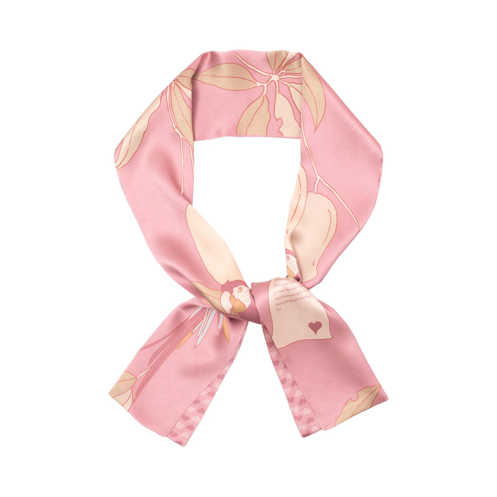 双成记加西亚系列鹦鹉情书印花真丝缎面领巾双面浅玫瑰色丝巾优雅