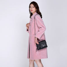 Anti-season new sheep shearing female coat collar collar slim long coat female 083