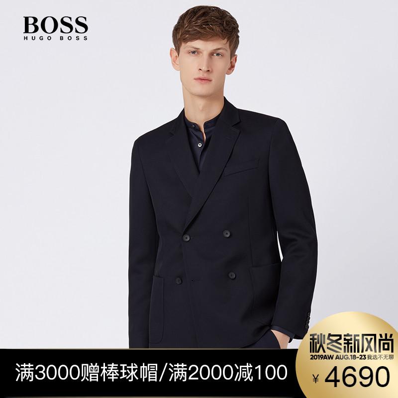 【折扣精品】HUGO BOSS雨果博斯男装2019纯色黑时尚商务修身西服