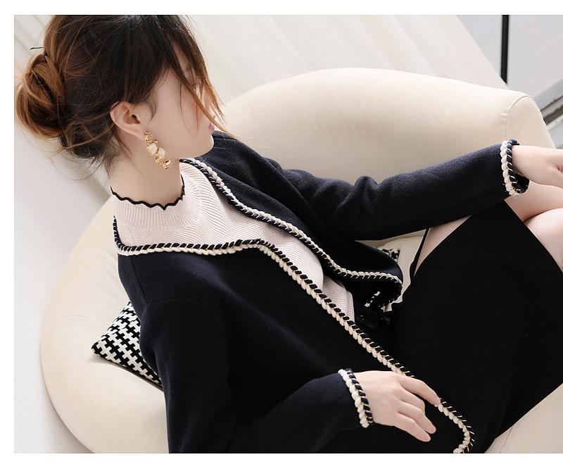 优雅随行 别致链条编织 四空平针COCO风格无扣羊毛针织外套开衫