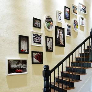 品美 创意欧式楼梯照片墙 楼道复合实木相框挂墙组合画框相片墙