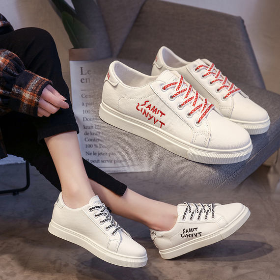 2018 autumn new white shoes female Korean fashion students flat-bottomed casual sports soft sister street clapper shoes